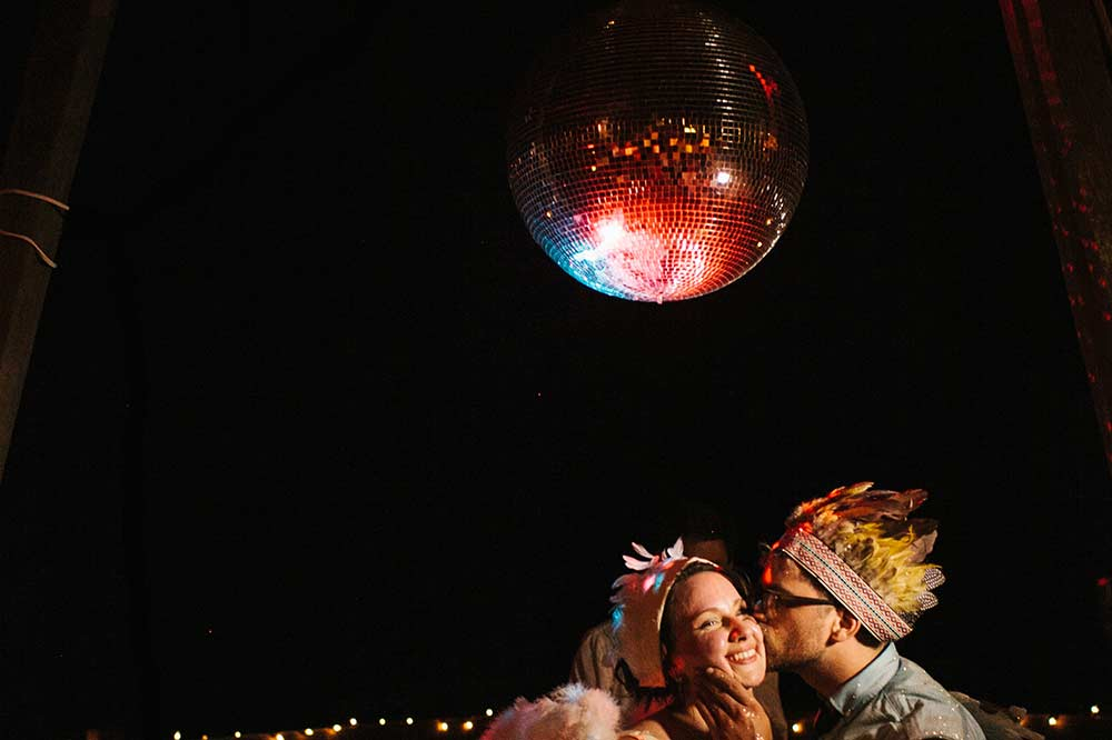 photo of a disco ball at a wedding